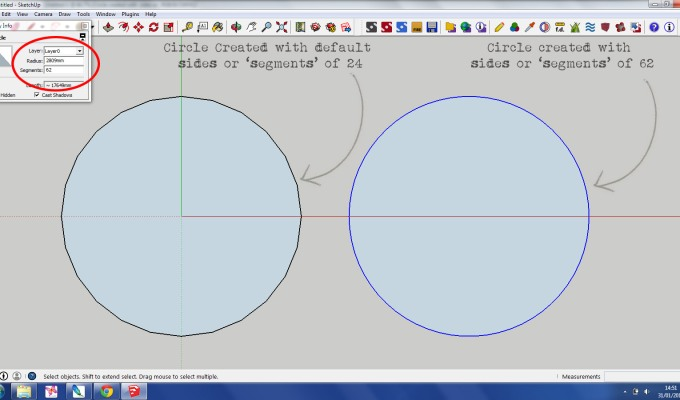 SketchUp Tutorial – Circles and Segments