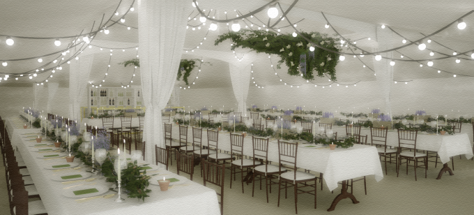 Marquee Wedding 3D Visualisation Watercolour 210715