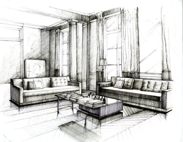 The hand rendering vs cgi debate anita brown 3d for Interior design sketches