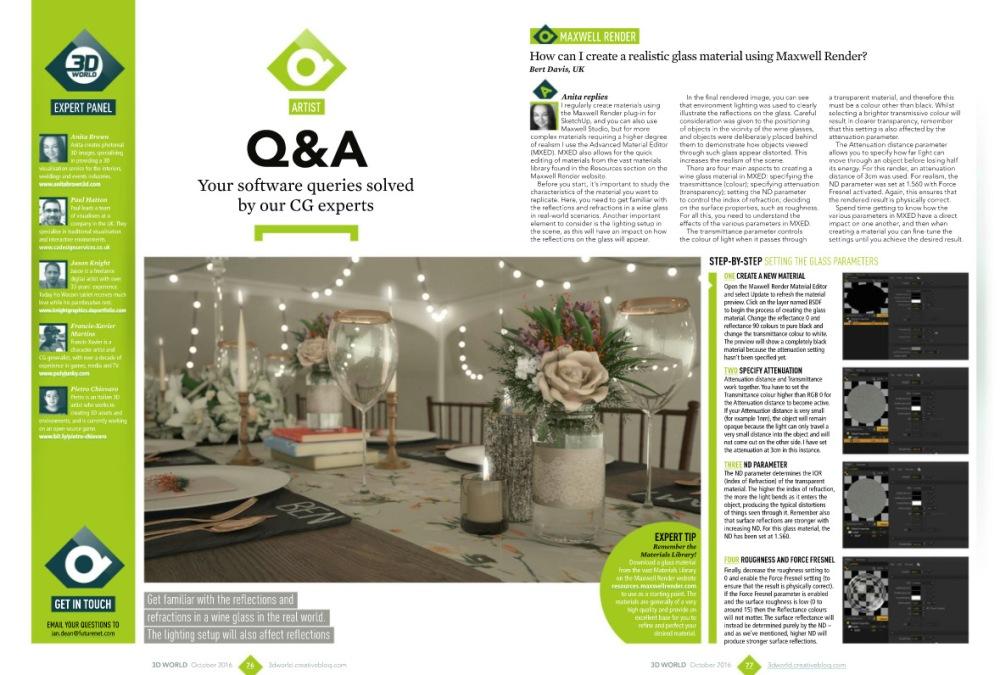 3D World Magazine Expert Article - Maxwell Render Glass