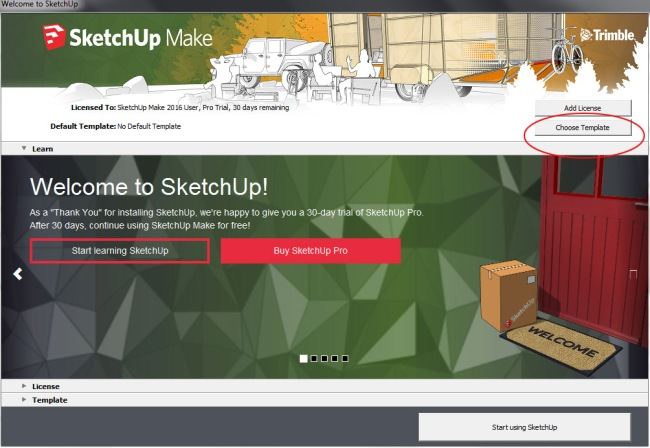 SketchUp Make Welcome Screen
