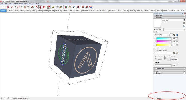 SketchUp Rotate 3D Text