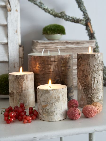 Nordic House Bark Candle Holders