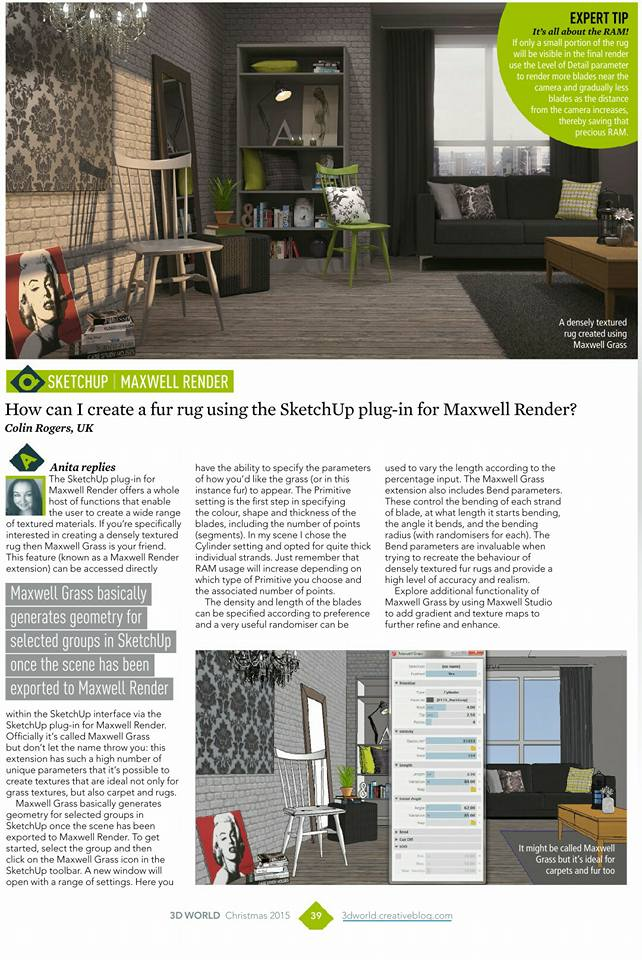 3D World Magazine Creating Fur Using SketchUp and Maxwell Render