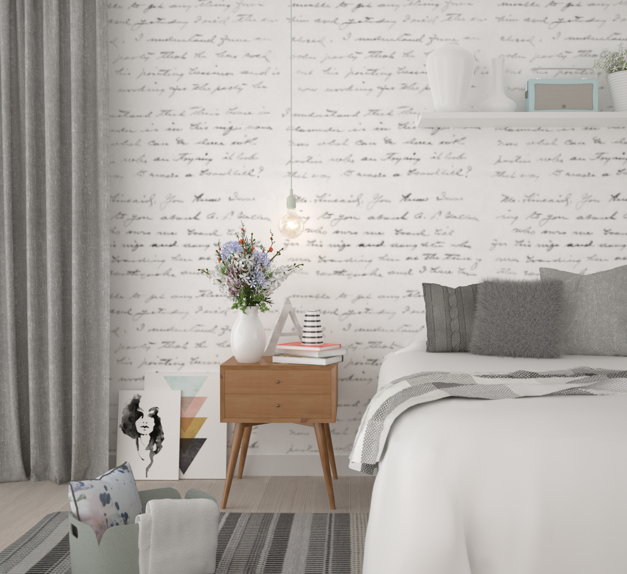 Breezy scandinavian bedroom anita brown 3d visualisation for Bedroom decor styles